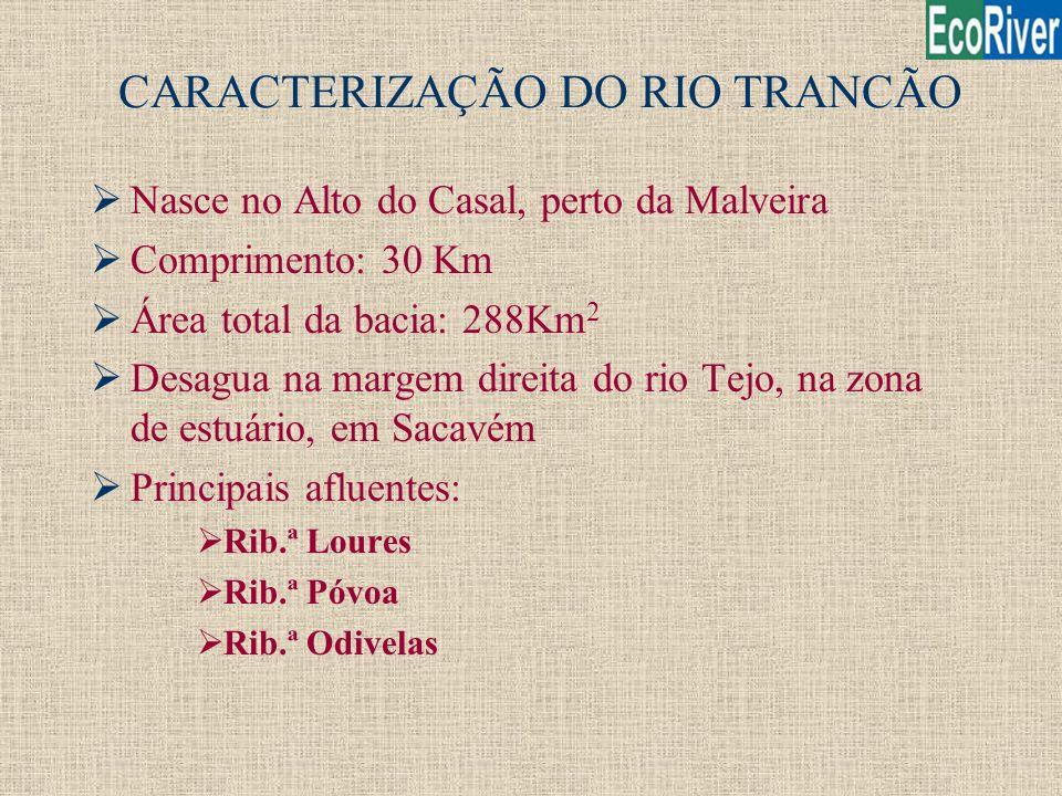 CARACTERIZAÇÃO DO RIO TRANCÃO ØNasce no Alto do Casal, perto da Malveira ØComprimento: 30 Km ØÁrea total da bacia: 288Km 2 ØDesagua na margem direita
