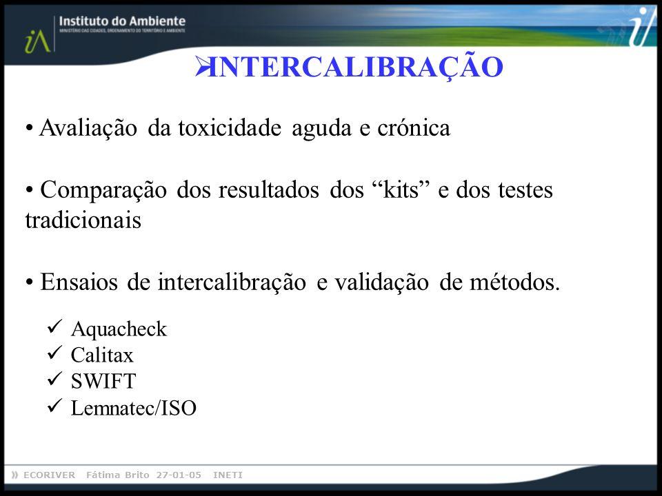ECORIVER Fátima Brito 27-01-05 INETI INTERCALIBRAÇÃO Aquacheck Calitax SWIFT Lemnatec/ISO Avaliação da toxicidade aguda e crónica Comparação dos resul