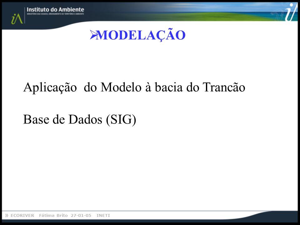 ECORIVER Fátima Brito 27-01-05 INETI MODELAÇÃO Aplicação do Modelo à bacia do Trancão Base de Dados (SIG)