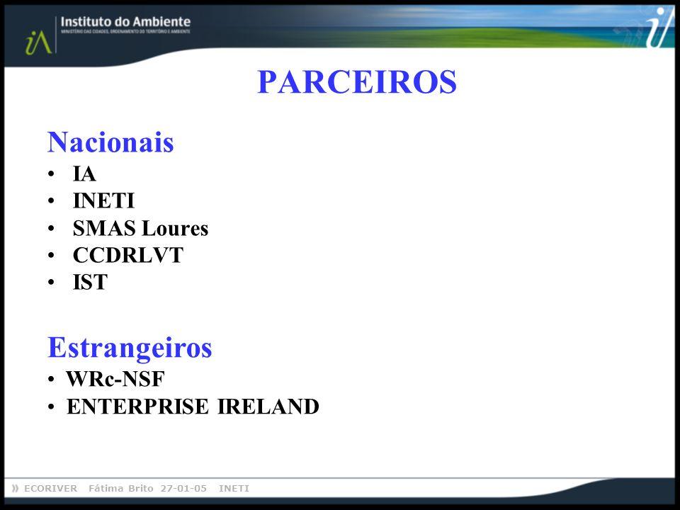 ECORIVER Fátima Brito 27-01-05 INETI PARCEIROS Nacionais IA INETI SMAS Loures CCDRLVT IST Estrangeiros WRc-NSF ENTERPRISE IRELAND