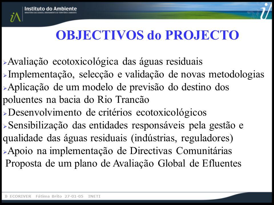ECORIVER Fátima Brito 27-01-05 INETI OBJECTIVOS do PROJECTO Avaliação ecotoxicológica das águas residuais Implementação, selecção e validação de novas