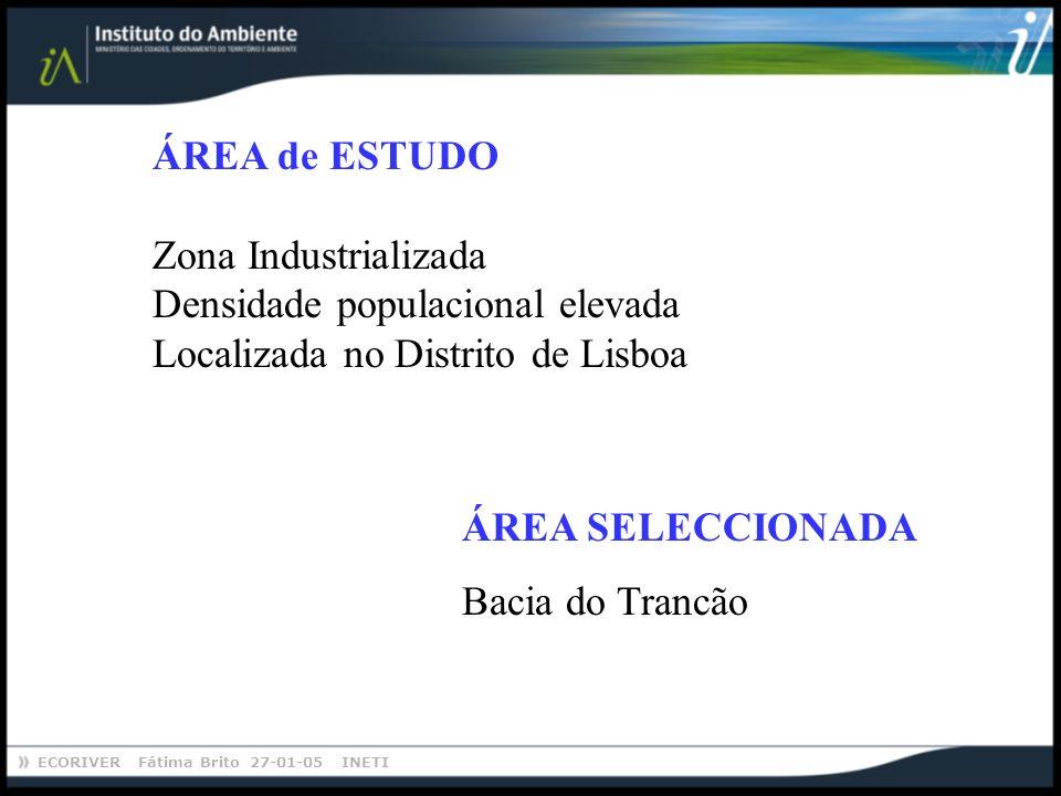 ECORIVER Fátima Brito 27-01-05 INETI ÁREA SELECCIONADA Bacia do Trancão ÁREA de ESTUDO Zona Industrializada Densidade populacional elevada Localizada