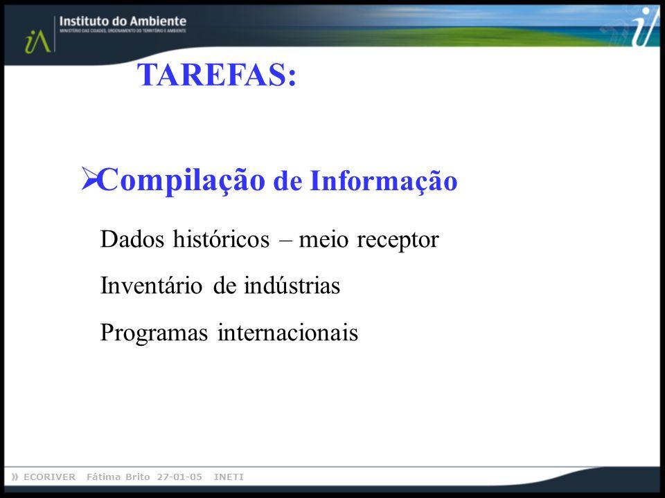 ECORIVER Fátima Brito 27-01-05 INETI TAREFAS: Dados históricos – meio receptor Inventário de indústrias Programas internacionais Compilação de Informa