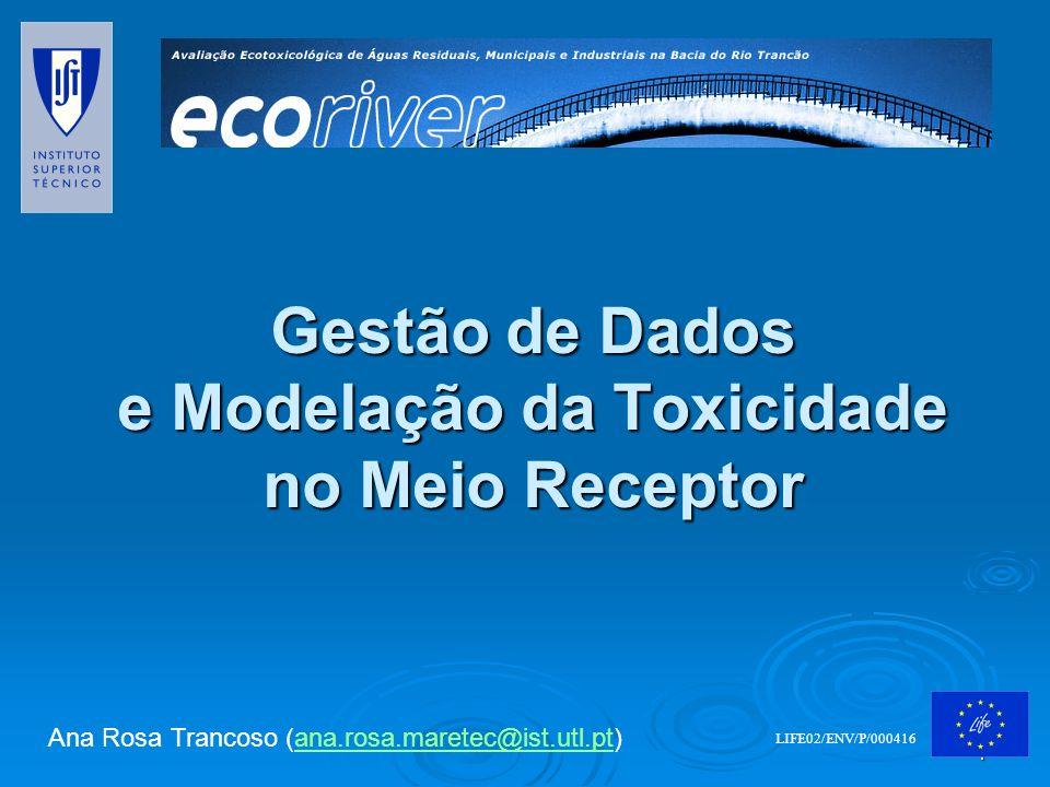 1 Gestão de Dados e Modelação da Toxicidade no Meio Receptor LIFE02/ENV/P/000416 Ana Rosa Trancoso (ana.rosa.maretec@ist.utl.pt)ana.rosa.maretec@ist.u