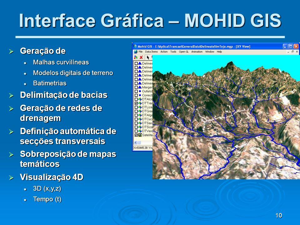 10 Interface Gráfica – MOHID GIS Geração de Geração de Malhas curvilíneas Malhas curvilíneas Modelos digitais de terreno Modelos digitais de terreno B