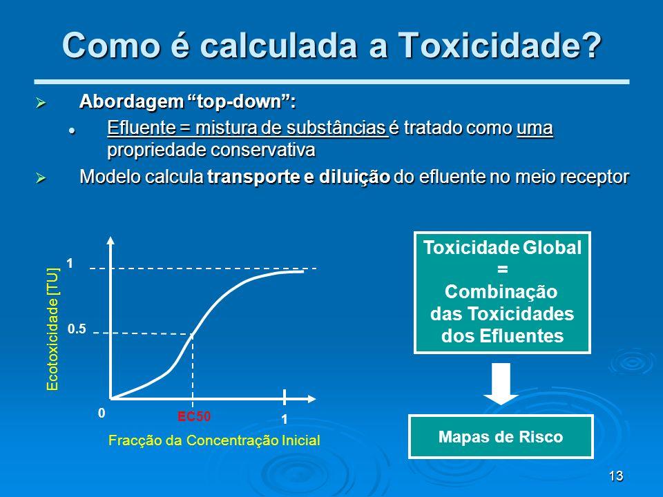 13 Como é calculada a Toxicidade? Abordagem top-down: Abordagem top-down: Efluente = mistura de substâncias é tratado como uma propriedade conservativ