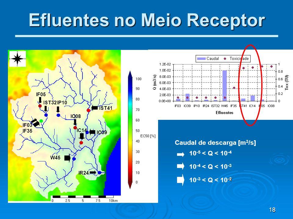 18 Efluentes no Meio Receptor IF05 IST32 IF03 IF35 IP10 W45 IST41 IO08 IO39 IC14 IR24 10 -5 < Q < 10 -4 10 -4 < Q < 10 -3 -2 10 -3 < Q < 10 -2 Caudal