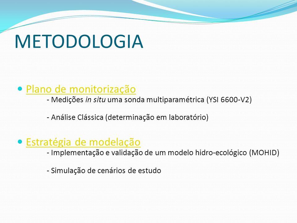 METODOLOGIA Plano de monitorização - Medições in situ uma sonda multiparamétrica (YSI 6600-V2) - Análise Clássica (determinação em laboratório) Estrat
