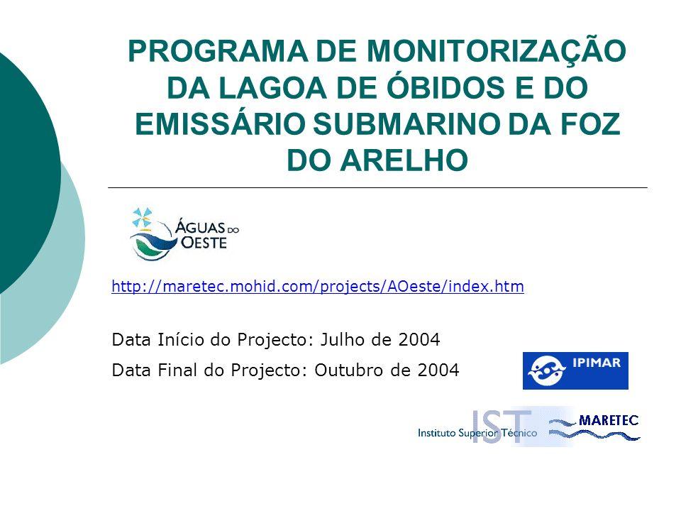 PROGRAMA DE MONITORIZAÇÃO DA LAGOA DE ÓBIDOS E DO EMISSÁRIO SUBMARINO DA FOZ DO ARELHO Data Início do Projecto: Julho de 2004 Data Final do Projecto: Outubro de 2004 http://maretec.mohid.com/projects/AOeste/index.htm