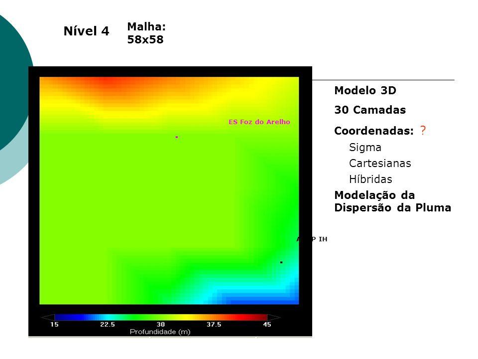 ES Foz do Arelho ADCP IH Malha: 58x58 Modelo 3D 30 Camadas Coordenadas: ? Sigma Cartesianas Híbridas Modelação da Dispersão da Pluma