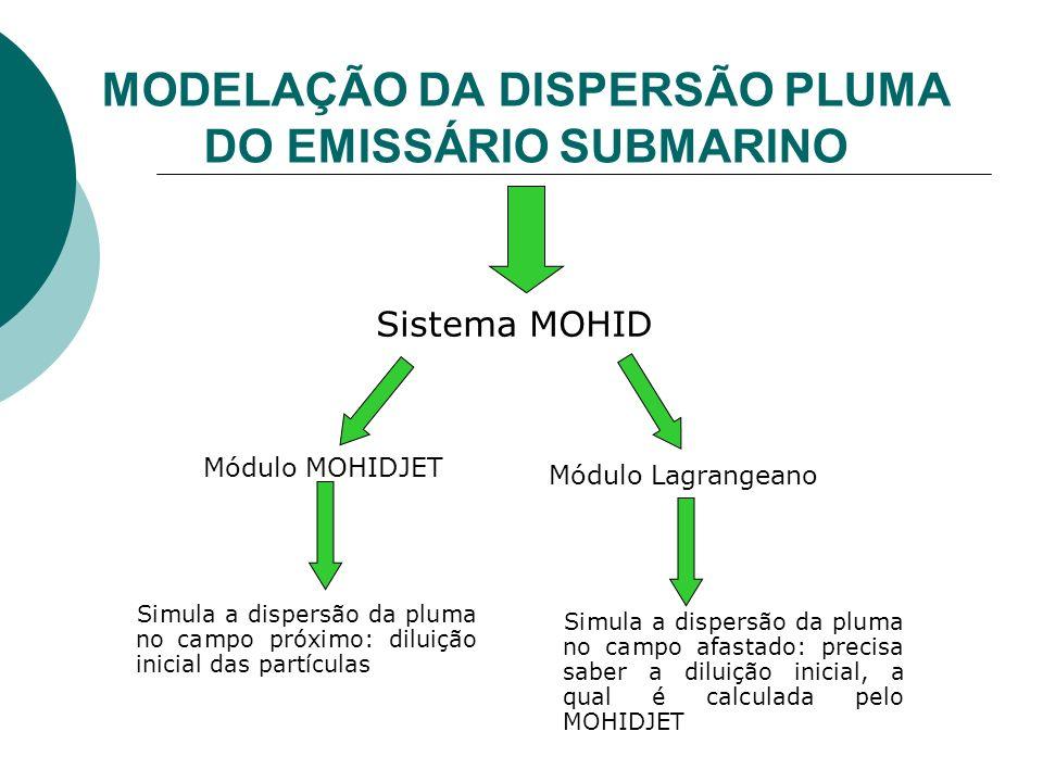 MODELAÇÃO DA DISPERSÃO PLUMA DO EMISSÁRIO SUBMARINO Módulo MOHIDJET Sistema MOHID Simula a dispersão da pluma no campo próximo: diluição inicial das p