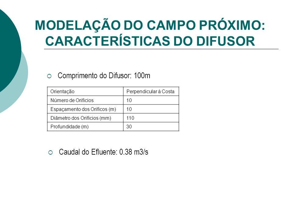 MODELAÇÃO DO CAMPO PRÓXIMO: CARACTERÍSTICAS DO DIFUSOR Comprimento do Difusor: 100m OrientaçãoPerpendicular á Costa Número de Orificios10 Espaçamento dos Orificos (m)10 Diâmetro dos Orificios (mm)110 Profundidade (m)30 Caudal do Efluente: 0.38 m3/s
