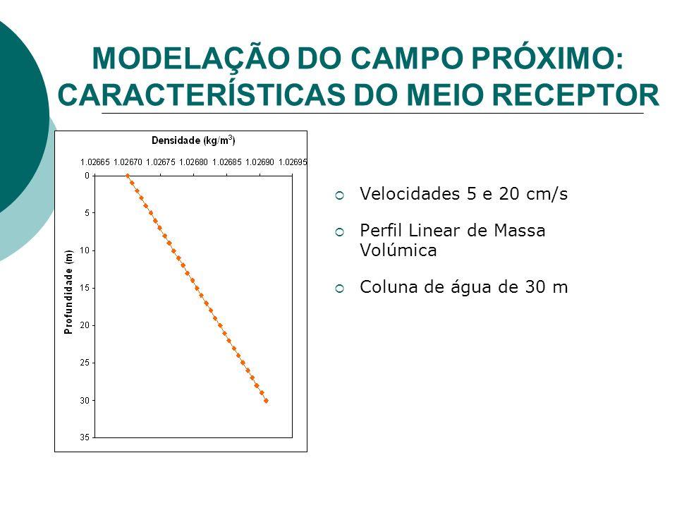 Velocidades 5 e 20 cm/s Perfil Linear de Massa Volúmica Coluna de água de 30 m MODELAÇÃO DO CAMPO PRÓXIMO: CARACTERÍSTICAS DO MEIO RECEPTOR