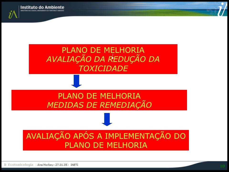 Ecotoxicologia | Ana Morbey- 27.01.05 - INETI 10 PLANO DE MELHORIA AVALIAÇÃO DA REDUÇÃO DA TOXICIDADE AVALIAÇÃO APÓS A IMPLEMENTAÇÃO DO PLANO DE MELHO