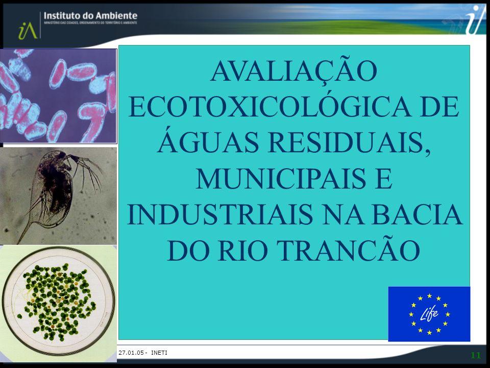 Ecotoxicologia | Ana Morbey- 27.01.05 - INETI 11 AVALIAÇÃO ECOTOXICOLÓGICA DE ÁGUAS RESIDUAIS, MUNICIPAIS E INDUSTRIAIS NA BACIA DO RIO TRANCÃO