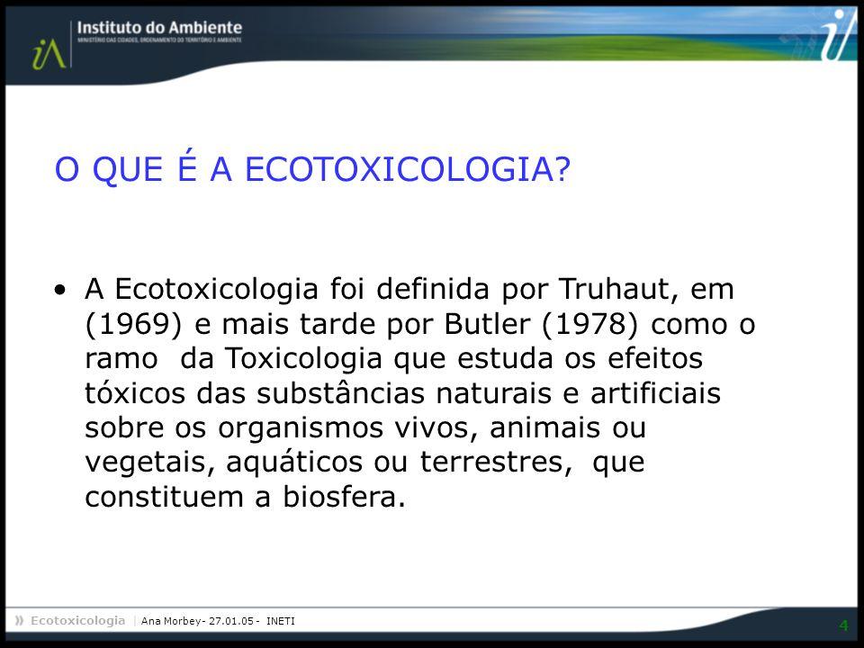 Ecotoxicologia | Ana Morbey- 27.01.05 - INETI 4 A Ecotoxicologia foi definida por Truhaut, em (1969) e mais tarde por Butler (1978) como o ramo da Tox
