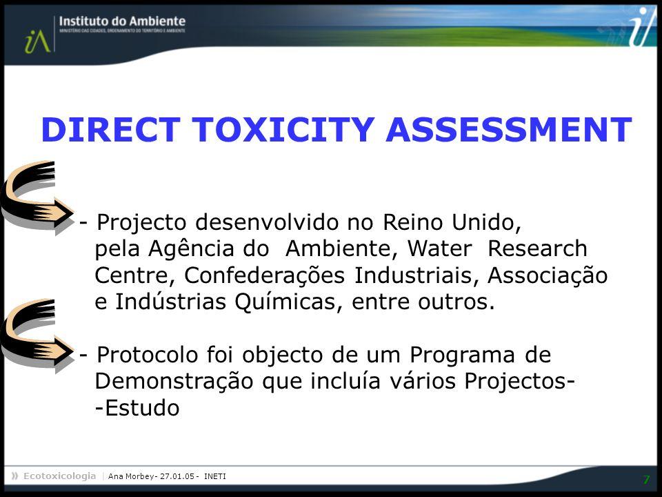 Ecotoxicologia | Ana Morbey- 27.01.05 - INETI 8 DIRECT TOXICITY ASSESSMENT Estabelecimento de um Protocolo para a determinação de critérios de toxicidade a utilizar no licenciamento de descargas Redução das descargas de águas residuais tóxicas para o ambiente.