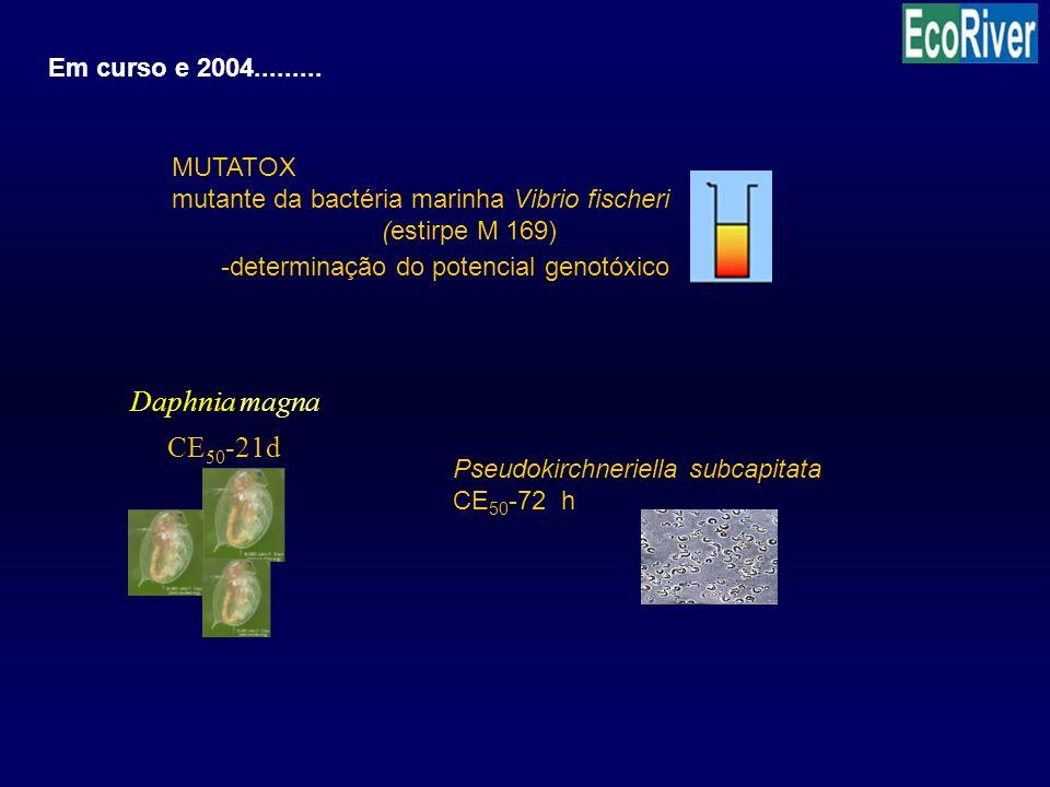 CE 50 -21d Daphnia magna Em curso e 2004......... Pseudokirchneriella subcapitata CE 50 -72 h MUTATOX mutante da bactéria marinha Vibrio fischeri (est