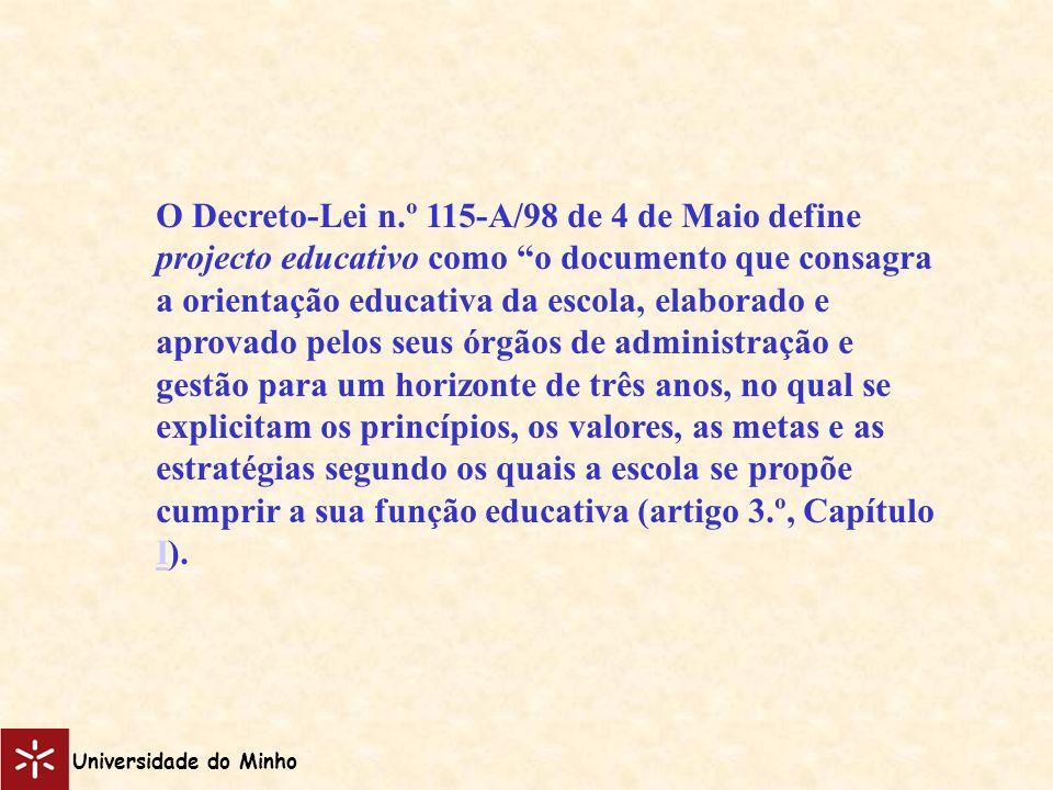 O Decreto-Lei n.º 115-A/98 de 4 de Maio define projecto educativo como o documento que consagra a orientação educativa da escola, elaborado e aprovado