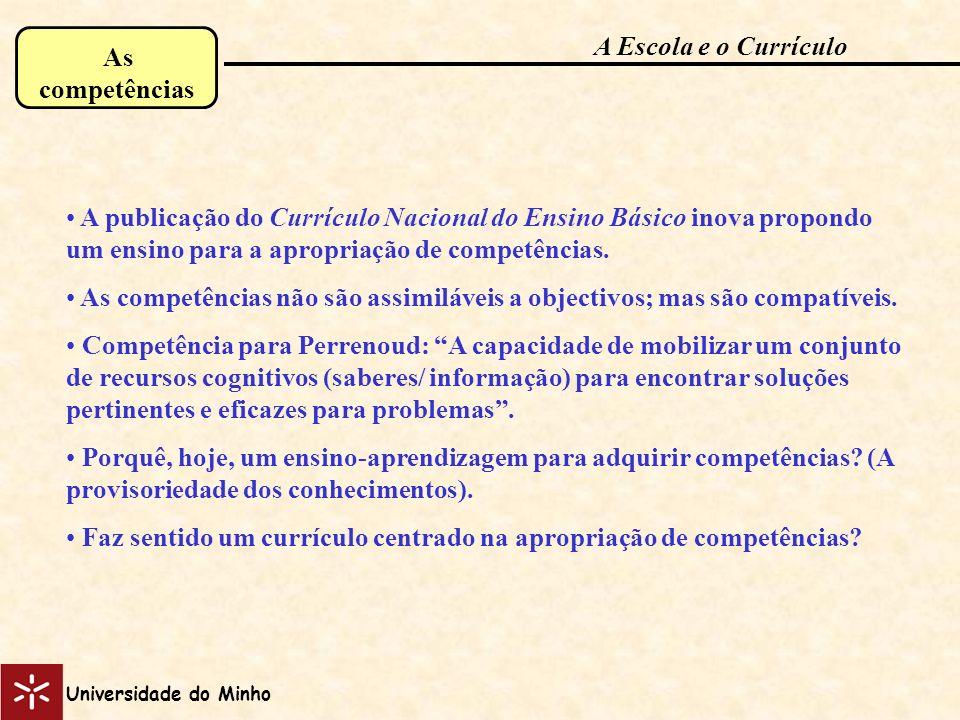 As competências A publicação do Currículo Nacional do Ensino Básico inova propondo um ensino para a apropriação de competências. As competências não s