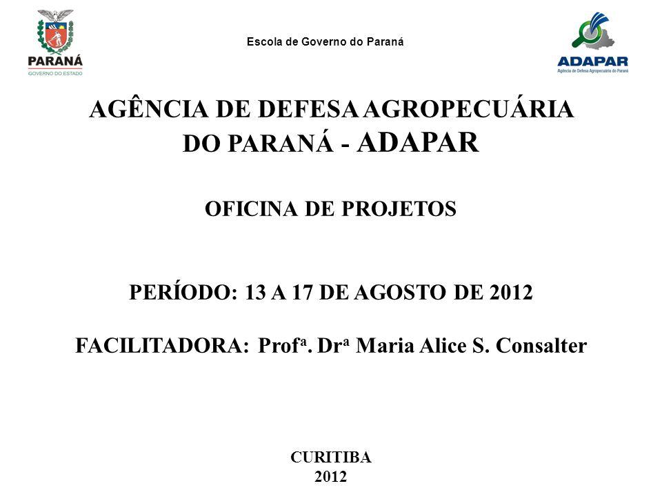 Escola de Governo do Paraná AGÊNCIA DE DEFESA AGROPECUÁRIA DO PARANÁ - ADAPAR OFICINA DE PROJETOS PERÍODO: 13 A 17 DE AGOSTO DE 2012 FACILITADORA: Pro