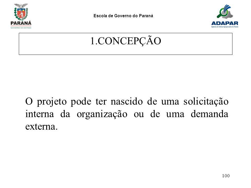 Escola de Governo do Paraná 100 1.CONCEPÇÃO O projeto pode ter nascido de uma solicitação interna da organização ou de uma demanda externa.