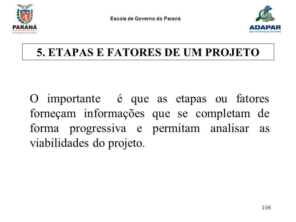 Escola de Governo do Paraná 106 5. ETAPAS E FATORES DE UM PROJETO O importante é que as etapas ou fatores forneçam informações que se completam de for