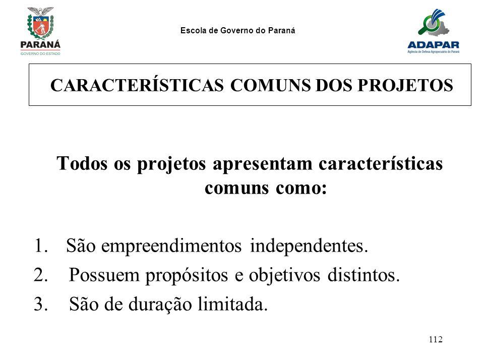 Escola de Governo do Paraná 112 CARACTERÍSTICAS COMUNS DOS PROJETOS Todos os projetos apresentam características comuns como: 1.São empreendimentos in