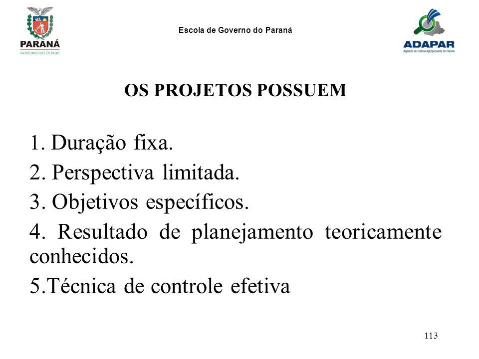 Escola de Governo do Paraná 113 OS PROJETOS POSSUEM 1. Duração fixa. 2. Perspectiva limitada. 3. Objetivos específicos. 4. Resultado de planejamento t