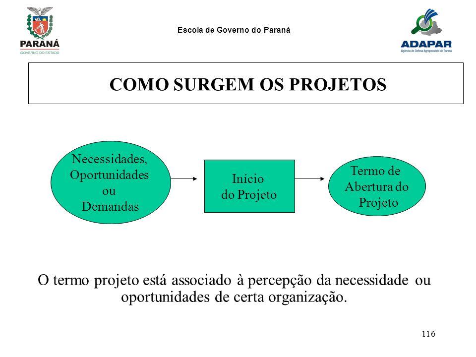 Escola de Governo do Paraná 116 COMO SURGEM OS PROJETOS O termo projeto está associado à percepção da necessidade ou oportunidades de certa organizaçã