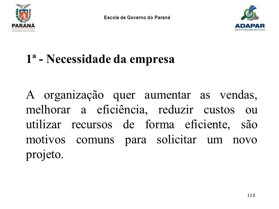 Escola de Governo do Paraná 118 1ª - Necessidade da empresa A organização quer aumentar as vendas, melhorar a eficiência, reduzir custos ou utilizar r