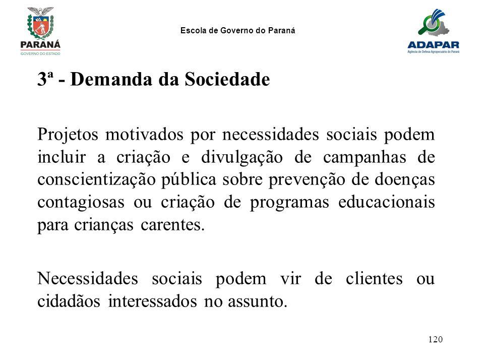 Escola de Governo do Paraná 120 3ª - Demanda da Sociedade Projetos motivados por necessidades sociais podem incluir a criação e divulgação de campanha