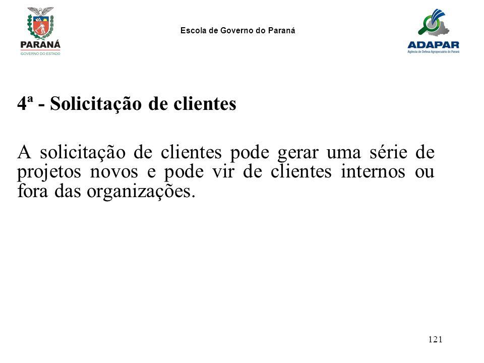 Escola de Governo do Paraná 121 4ª - Solicitação de clientes A solicitação de clientes pode gerar uma série de projetos novos e pode vir de clientes i