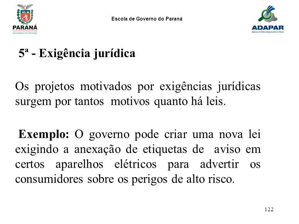 Escola de Governo do Paraná 122 5ª - Exigência jurídica Os projetos motivados por exigências jurídicas surgem por tantos motivos quanto há leis. Exemp