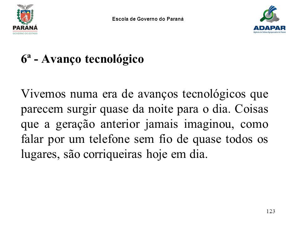 Escola de Governo do Paraná 123 6ª - Avanço tecnológico Vivemos numa era de avanços tecnológicos que parecem surgir quase da noite para o dia. Coisas