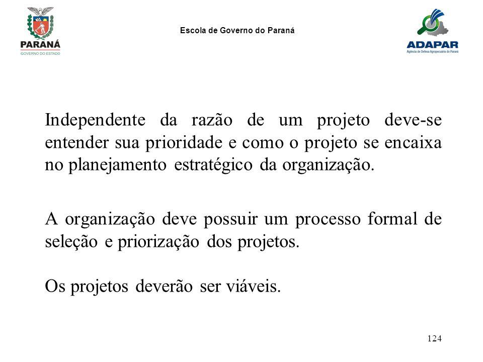 Escola de Governo do Paraná 124 Independente da razão de um projeto deve-se entender sua prioridade e como o projeto se encaixa no planejamento estrat