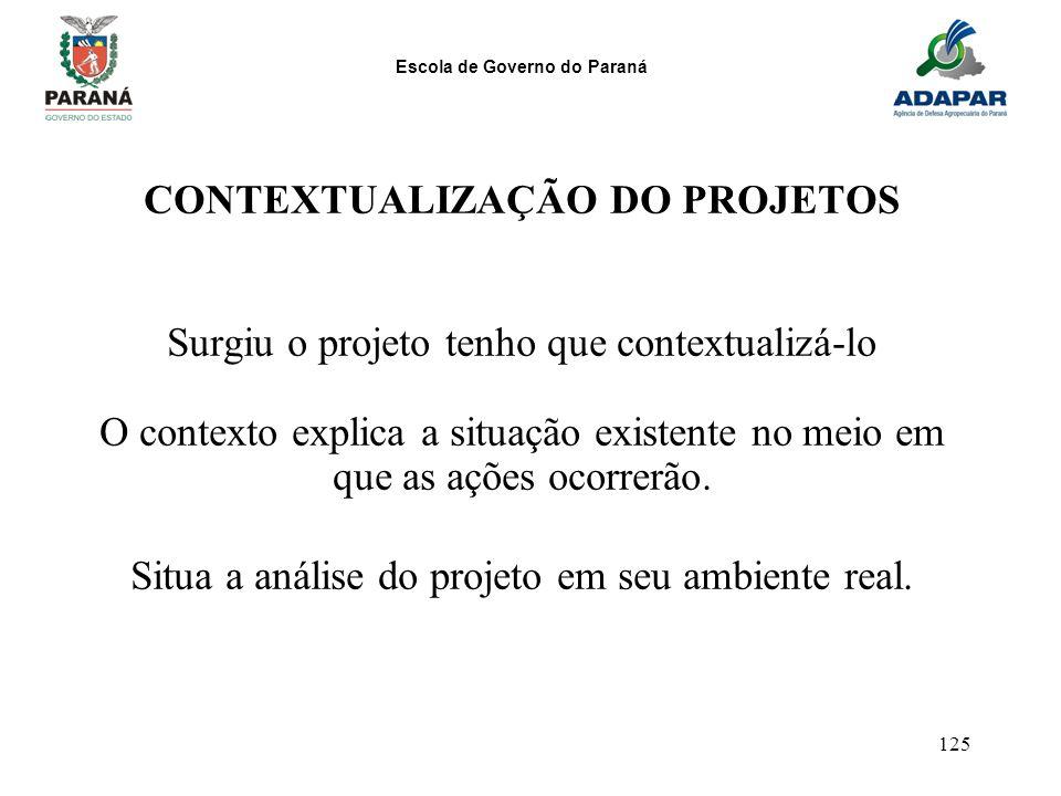 Escola de Governo do Paraná 125 CONTEXTUALIZAÇÃO DO PROJETOS Surgiu o projeto tenho que contextualizá-lo O contexto explica a situação existente no me