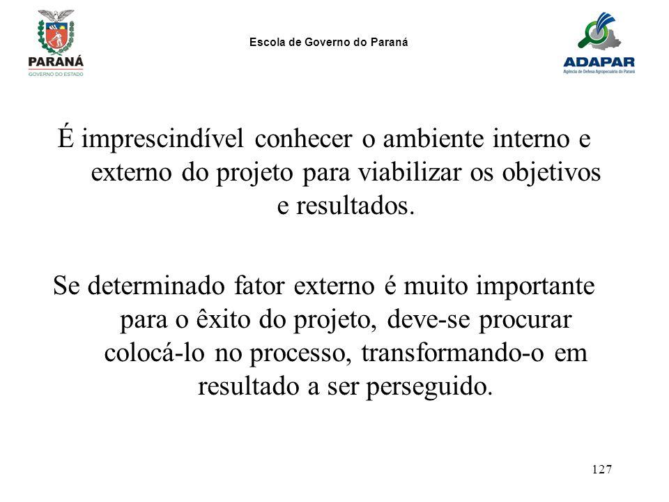 Escola de Governo do Paraná 127 É imprescindível conhecer o ambiente interno e externo do projeto para viabilizar os objetivos e resultados. Se determ