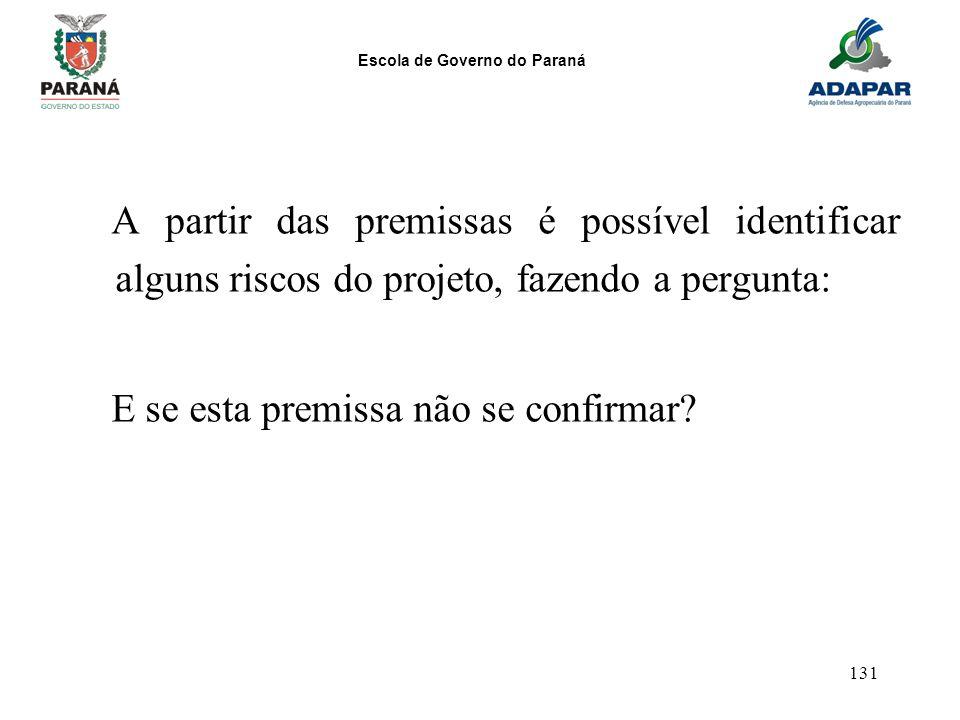 Escola de Governo do Paraná 131 A partir das premissas é possível identificar alguns riscos do projeto, fazendo a pergunta: E se esta premissa não se
