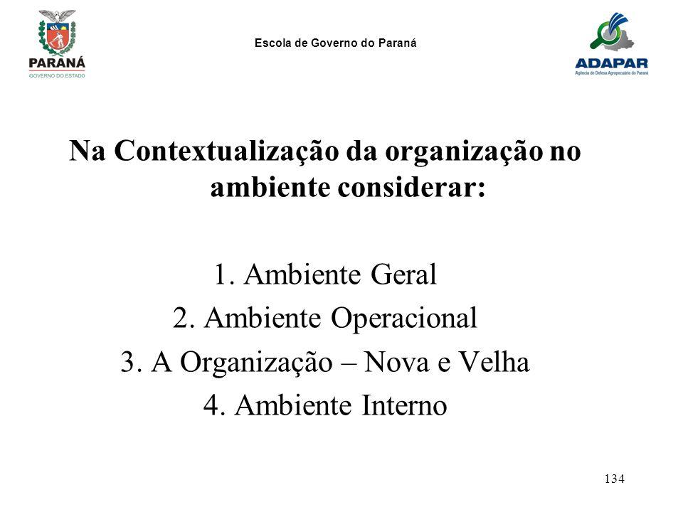 Escola de Governo do Paraná 134 Na Contextualização da organização no ambiente considerar: 1. Ambiente Geral 2. Ambiente Operacional 3. A Organização