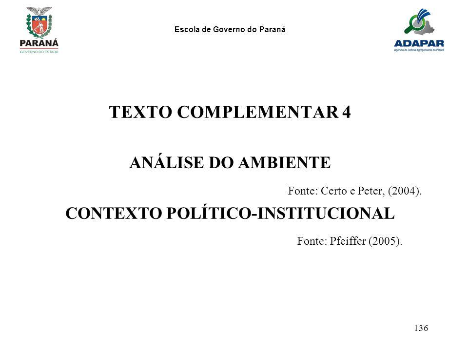 Escola de Governo do Paraná 136 TEXTO COMPLEMENTAR 4 ANÁLISE DO AMBIENTE Fonte: Certo e Peter, (2004). CONTEXTO POLÍTICO-INSTITUCIONAL Fonte: Pfeiffer