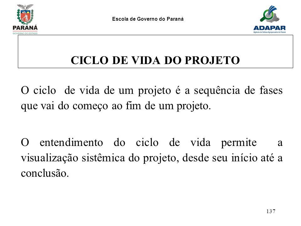 Escola de Governo do Paraná 137 CICLO DE VIDA DO PROJETO O ciclo de vida de um projeto é a sequência de fases que vai do começo ao fim de um projeto.