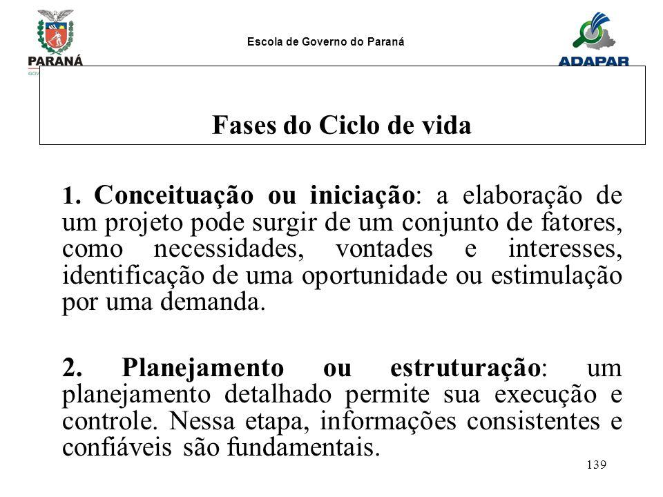 Escola de Governo do Paraná 139 Fases do Ciclo de vida 1. Conceituação ou iniciação: a elaboração de um projeto pode surgir de um conjunto de fatores,