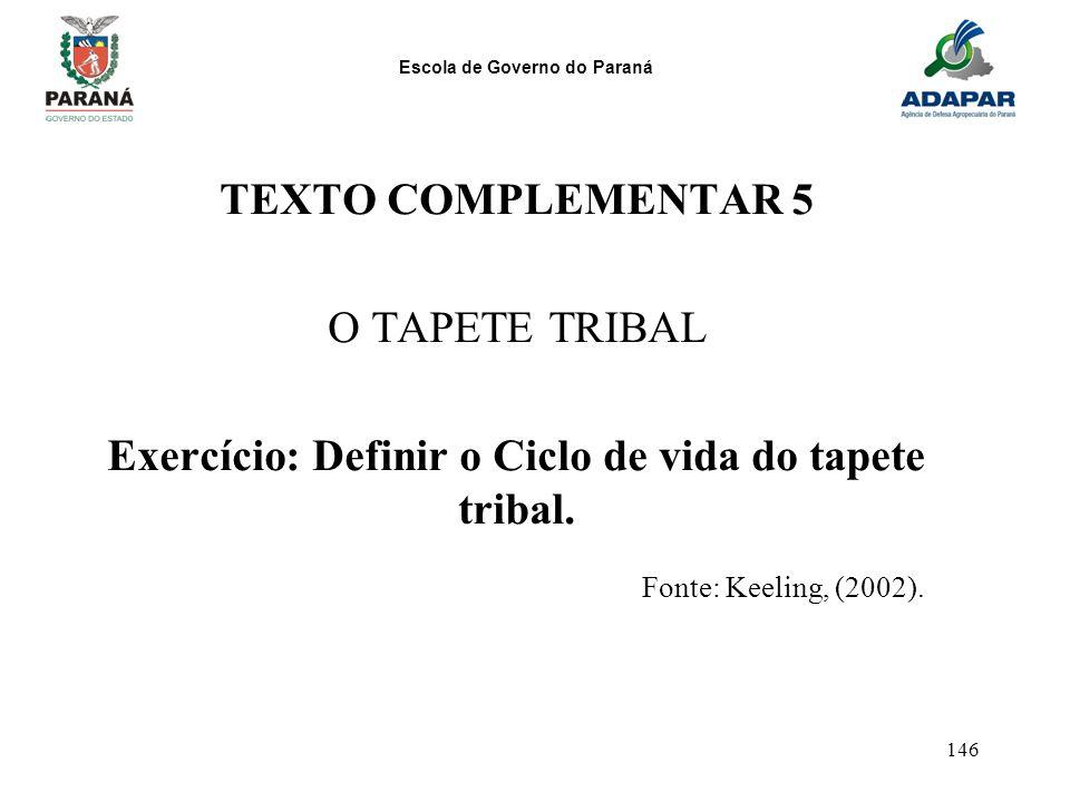 Escola de Governo do Paraná 146 TEXTO COMPLEMENTAR 5 O TAPETE TRIBAL Exercício: Definir o Ciclo de vida do tapete tribal. Fonte: Keeling, (2002).