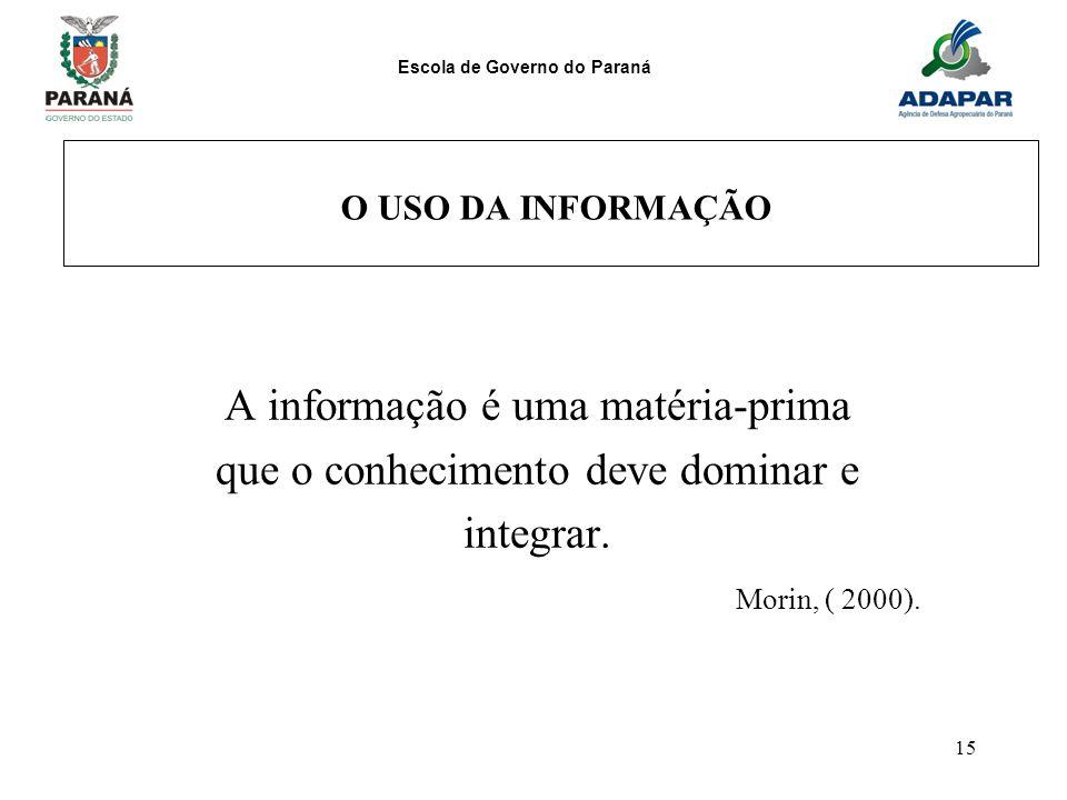 Escola de Governo do Paraná 15 O USO DA INFORMAÇÃO A informação é uma matéria-prima que o conhecimento deve dominar e integrar. Morin, ( 2000).