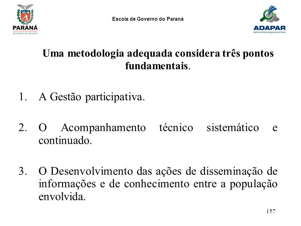 Escola de Governo do Paraná 157 Uma metodologia adequada considera três pontos fundamentais. 1.A Gestão participativa. 2.O Acompanhamento técnico sist