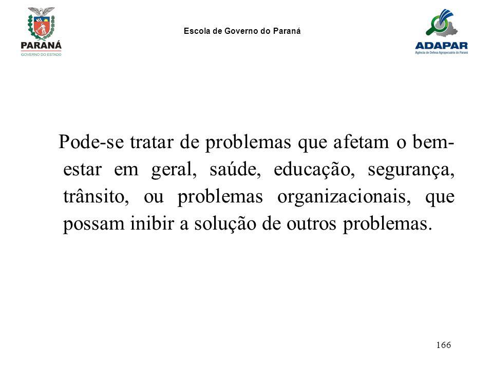 Escola de Governo do Paraná 166 Pode-se tratar de problemas que afetam o bem- estar em geral, saúde, educação, segurança, trânsito, ou problemas organ