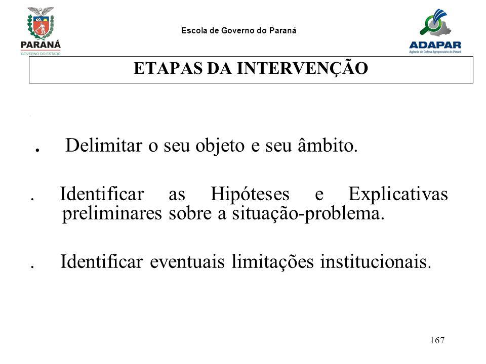 Escola de Governo do Paraná 167 ETAPAS DA INTERVENÇÃO.. Delimitar o seu objeto e seu âmbito.. Identificar as Hipóteses e Explicativas preliminares sob
