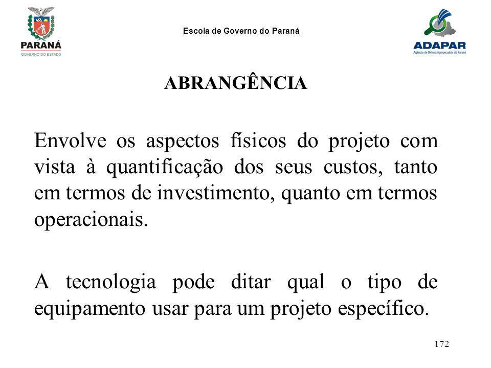 Escola de Governo do Paraná 172 ABRANGÊNCIA Envolve os aspectos físicos do projeto com vista à quantificação dos seus custos, tanto em termos de inves