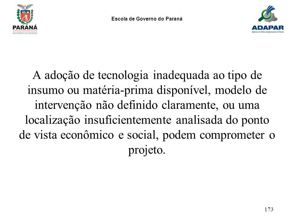 Escola de Governo do Paraná 173 A adoção de tecnologia inadequada ao tipo de insumo ou matéria-prima disponível, modelo de intervenção não definido cl